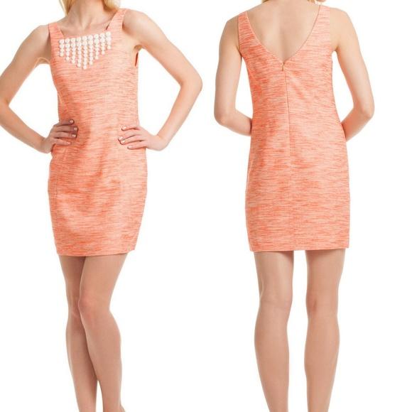92fb8137745 Trina Turk Orange Embellished Linen Shift Dress 6